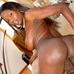 Aubria1 Thick Black tranny with a rock violent cock and lustful curves.